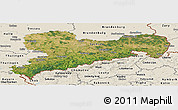 Satellite Panoramic Map of Sachsen, shaded relief outside