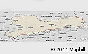 Shaded Relief Panoramic Map of Sachsen, desaturated