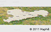 Shaded Relief Panoramic Map of Sachsen, satellite outside