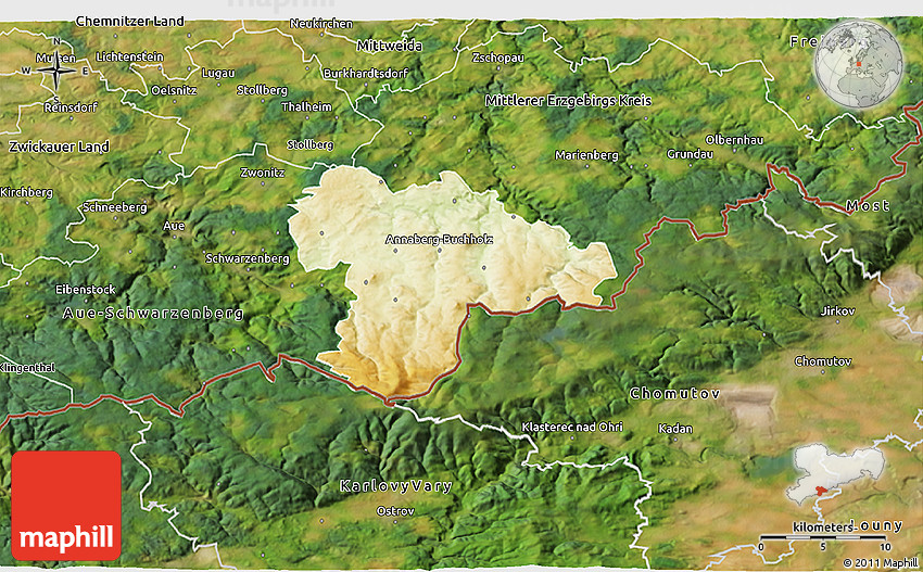 Map Of Germany 3d.Physical 3d Map Of Annaberg Satellite Outside