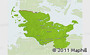 Physical 3D Map of Schleswig-Holstein, lighten