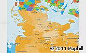 Political 3D Map of Schleswig-Holstein
