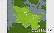 Physical Map of Schleswig-Holstein, darken
