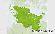 Physical Map of Schleswig-Holstein, lighten