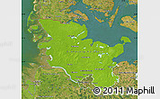 Physical Map of Schleswig-Holstein, satellite outside