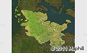Satellite Map of Schleswig-Holstein, darken