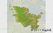 Satellite Map of Schleswig-Holstein, lighten