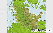 Satellite Map of Schleswig-Holstein, physical outside