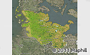 Satellite Map of Schleswig-Holstein, semi-desaturated