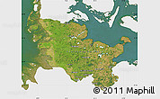 Satellite Map of Schleswig-Holstein, single color outside