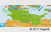 Physical Panoramic Map of Schleswig-Holstein, political outside