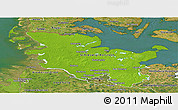 Physical Panoramic Map of Schleswig-Holstein, satellite outside