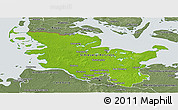 Physical Panoramic Map of Schleswig-Holstein, semi-desaturated