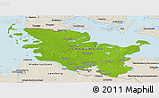 Physical Panoramic Map of Schleswig-Holstein, shaded relief outside