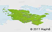 Physical Panoramic Map of Schleswig-Holstein, single color outside