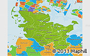 Physical 3D Map of Schleswig-Holstein, political outside