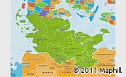 Physical 3D Map of Schleswig-Holstein, political shades outside