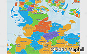 Political 3D Map of Schleswig-Holstein