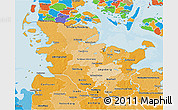 Political Shades 3D Map of Schleswig-Holstein