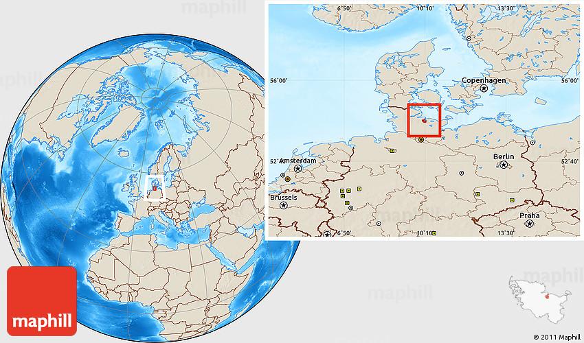 Shaded Relief Location Map of Kiel