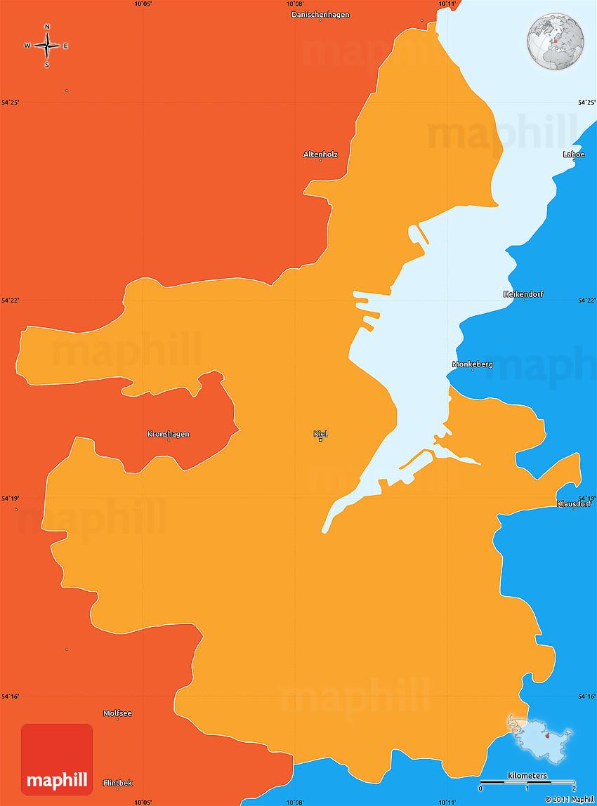 Political Simple Map of Kiel