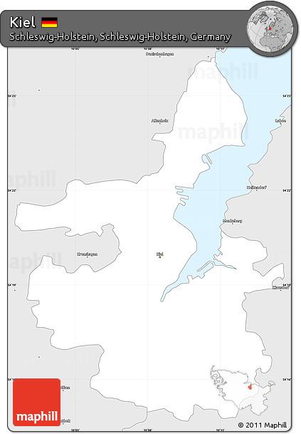 Free Silver Style Simple Map of Kiel