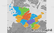 Political Map of Schleswig-Holstein, desaturated