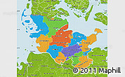 Political Map of Schleswig-Holstein, physical outside
