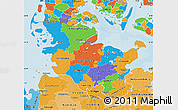 Political Map of Schleswig-Holstein, political shades outside