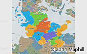Political Map of Schleswig-Holstein, semi-desaturated