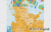 Political Shades Map of Schleswig-Holstein
