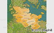 Political Shades Map of Schleswig-Holstein, satellite outside