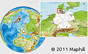 Physical Location Map of Nordfriesland, highlighted country, highlighted grandparent region, within the entire country