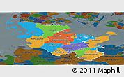 Political Panoramic Map of Schleswig-Holstein, darken