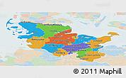 Political Panoramic Map of Schleswig-Holstein, lighten