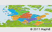 Political Panoramic Map of Schleswig-Holstein, physical outside
