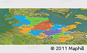 Political Panoramic Map of Schleswig-Holstein, satellite outside