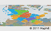 Political Panoramic Map of Schleswig-Holstein, semi-desaturated
