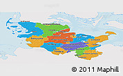 Political Panoramic Map of Schleswig-Holstein, single color outside
