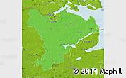 Political Map of Schleswig-Flensburg, physical outside