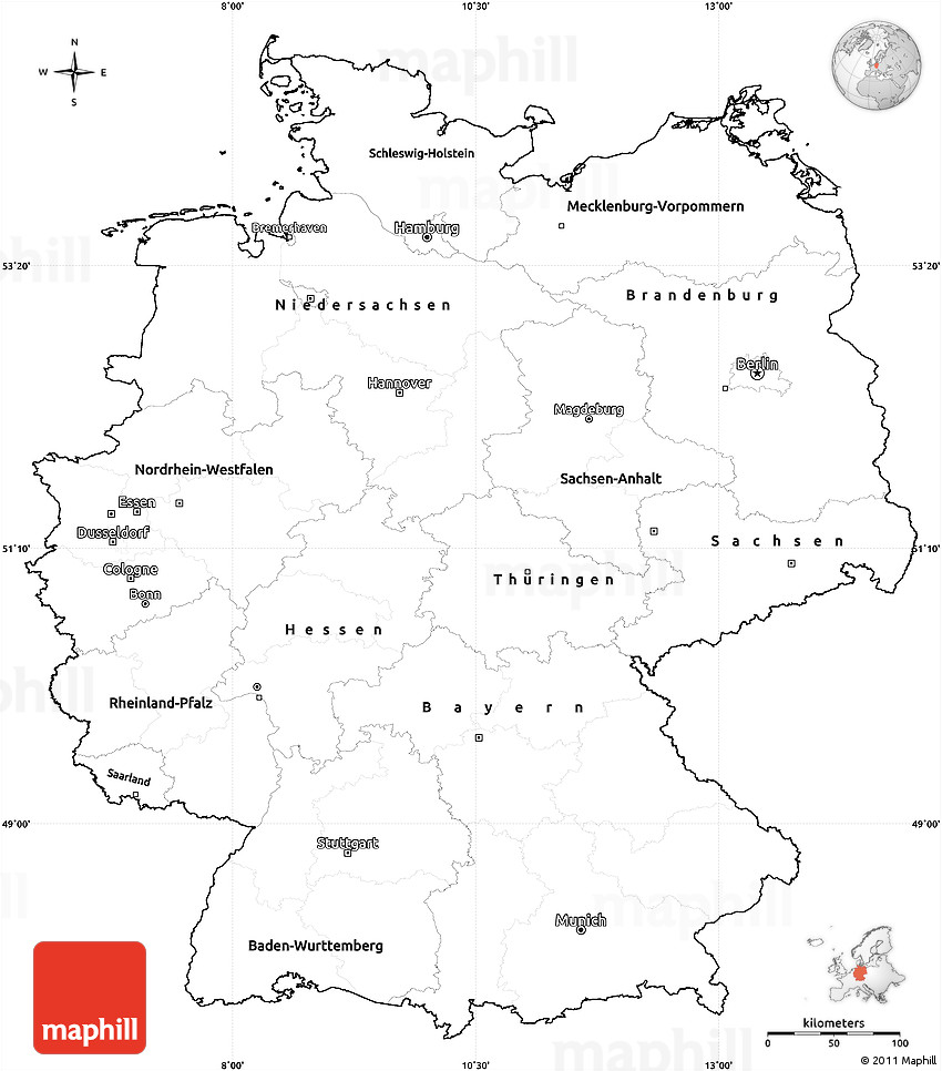 Blank Simple Map Of Germany Cropped Outside - Germany map printable
