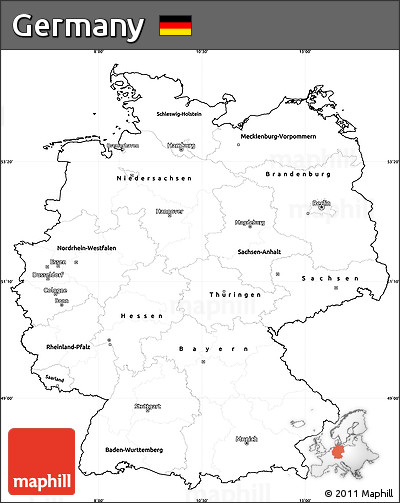 Blank Simple Map Of Germany, Cropped Outside ...
