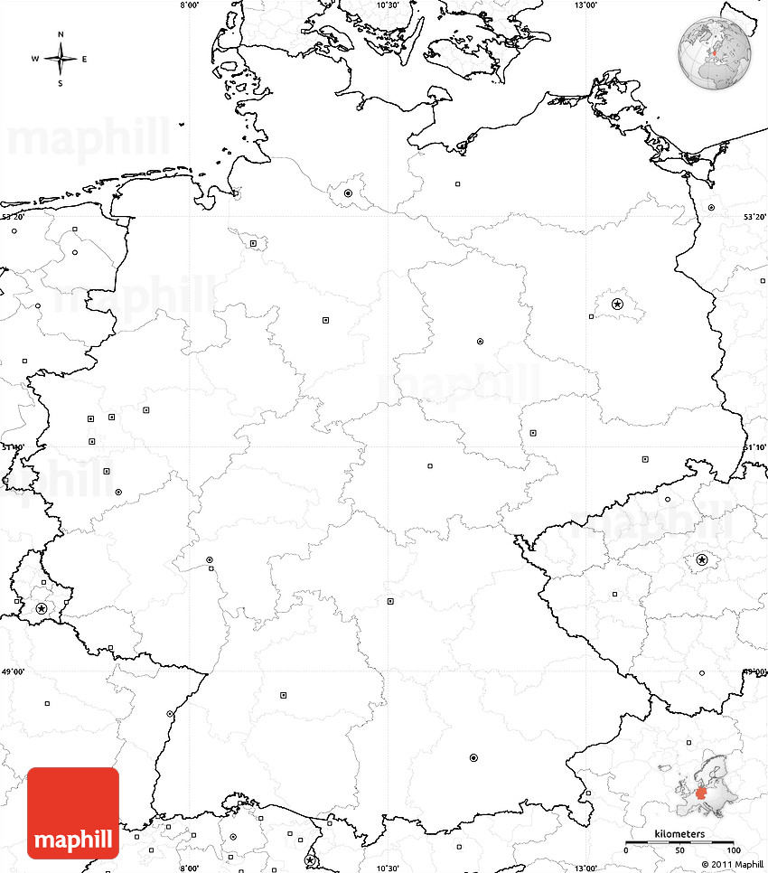 blank simple map of germany no labels