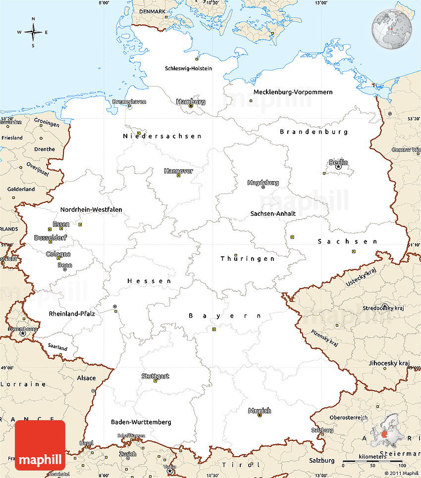 Free Classic Style Simple Map Of Germany - Germany map simple