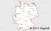Classic Style Simple Map of Germany, cropped outside