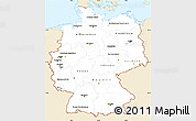 Classic Style Simple Map of Germany, single color outside