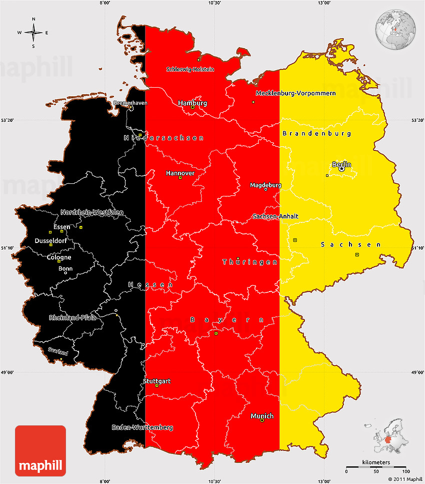 Flag Simple Map of Germany flag aligned to the middle