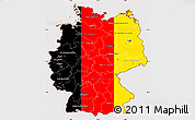 Flag Simple Map of Germany, flag aligned to the middle