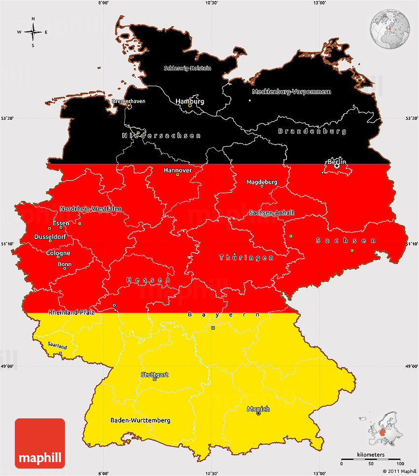 Flag Simple Map of Germany
