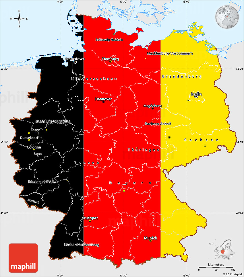 Flag Simple Map of Germany, single color outside, flag rotated